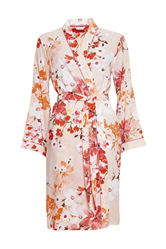 Cyberjammies 4429 Women's Darcie Coral Orange Floral Print Cotton Short Robe