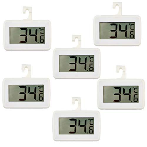 Digitales Kühlschrank-Thermometer, wasserdicht, Gefrierschrank, Raumthermometer, hohe Präzision, Kühlschrank-Alarm-Thermometer mit Haken, für Küche, Zuhause, °C/°F umwandelbar, 6 Stück