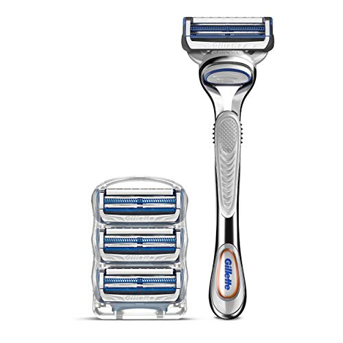 Gillette SkinGuard Men#039s Razor and Men#039s Razor Blades for Sensitive Skin Handle  4 Blade Refills