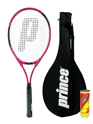 Prince Power Viper Ti - Raqueta de tenis para adultos, incluye funda protectora con correa de transporte y 3 pelotas de tenis, tamaño de agarre L2