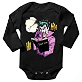 Batman - Death Note Lustiges Schwarz Langärmliges Baby Strampler - Der Joker und das Death Note (Batman - Death Note Parodie) (Ref:1042)