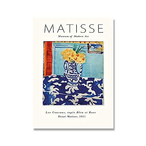 Henry Matisse carteles e impresiones retro de moda galería abstracta arte de la pared lienzo pintura sin marco para el hogar F 50x75cm