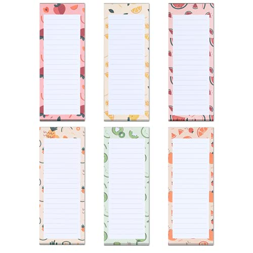Grocery List Magnet Pad for Fridge, 6-Pack Magnetic Note Pads Lists, 60 Sheets Per Pad, 6 Cute Fruit Designs, Full Magnet Back To-Do-List Notepads