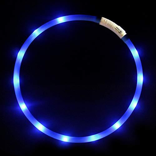 GREENTREEN LED Leuchthalsband Hund, Nacht-Sicherheit Hunde Halsband Leuchtend für Hunde und Katzen, USB wiederaufladbar, 70 cm, Längenverstellbar (Blau)