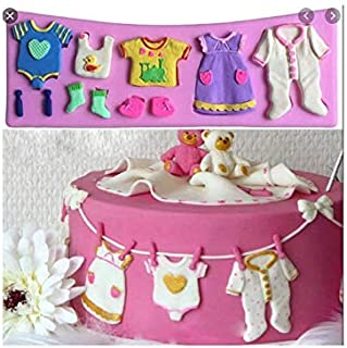 S.Han Silicone Baby Shower Clothes Mould Fondant Mold Baker Cake Decoration