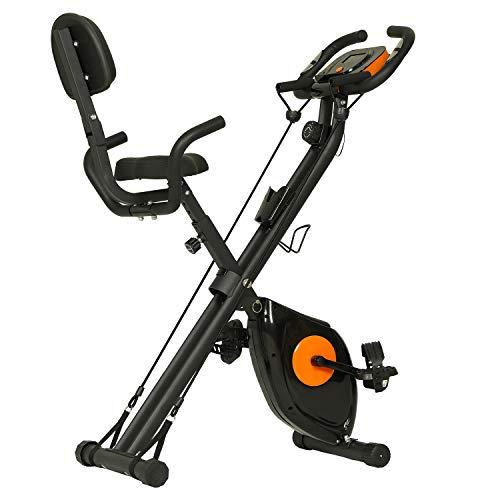 ephex - Bicicleta estática plegable magnética con 8 niveles de resistencia, 2,5 kg de masa inercia con cuerdas tensoras, sensores de pulso, 130 kg máx.