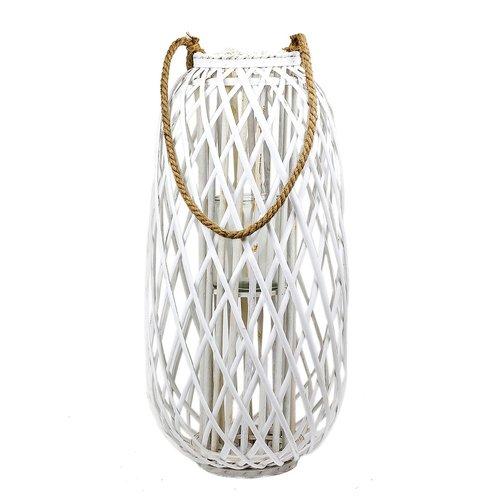 XXL Laterne Rattan mit Glas-Windlicht, weiss, Höhe ca. 70cm