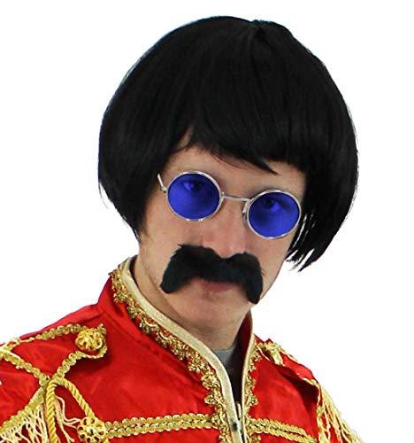 Seemeinthat 60er Jahre Rock Sergeant Set schwarz Kurze Perücke + farbige runde Brille + schwarzer Schnurrbart Celbriity Kostüm Zubehör Kit 60er Jahre Pop Sergeant