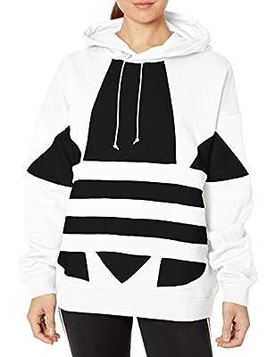 adidas Originals Women's Large Logo Hoodie Sweatshirt, White/Black, XL