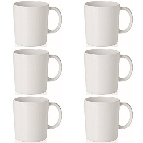 mikken - Kaffeetasse 0,35L Camping Kaffeebecher 6er Set, 0, Weiß