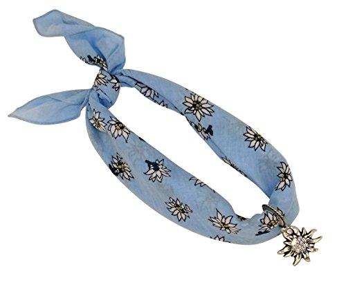 Hell-blaues Nickituch im Edelweißdesign mit Edelweißanhänger | Anhänger mit original Ostinoff-Strasssteinen | Bandana aus 100% Baumwolle | Halstuch 53 x 53 cm | Teichmann