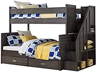Building Blocks Dylan Staircase Bunk Bed Twin Over Full in Grey Slate
