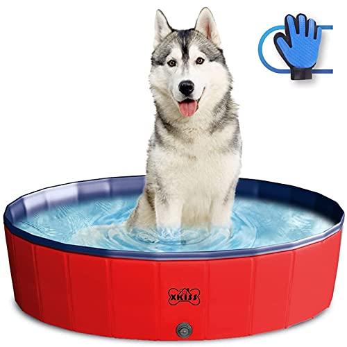 XKISS Zusammenklappbares Haustierbad Für Welpen, Katzen, Hunde und Kinder,Hunde planschbecken,Faltbarer Pool (S, Red)'