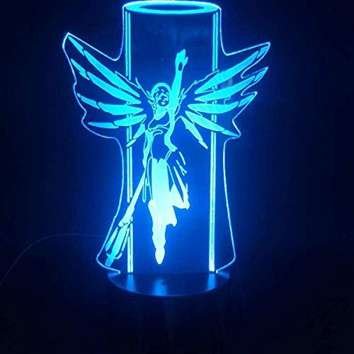 Tatapai 3D Illusion Lamp Led Night Light Game Overwatch Heroes Colorful Mercy with Remote Battery Powered Hologram Visual Effect USB
