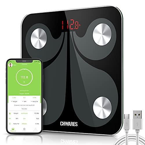 CHWARES Bilancia pesapersone digitale USB ricaricabile, Bluetooth, con App, bilancia digitale 13 importanti dati del corpo, conversione 3 unità, ricarica USB, bilancia grasso corporeo wireless,nero