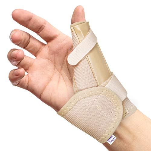 Férula, órtesis y Espica elástica para Pulgar – Reduce el Dolor de Esguinces y Distensiones de Pulgar y Tendinitis (Negro, Mediana Izquierda)
