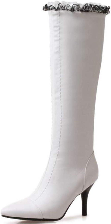 SJJH Women Fashion Knee High Lace Boots