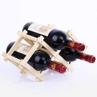 heshuo Portabidones de madera para botellas de vino, creativo, práctico y plegable, para sala de estar, mueble decorativo de vino tinto (color: 3 botellas 1)