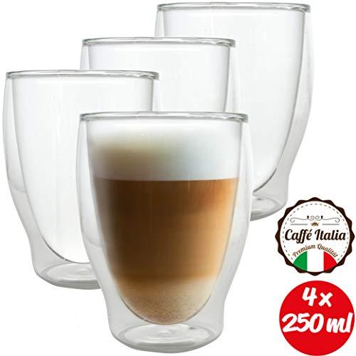 Caffé Italia Milano - 4X Tasse Verre Double Paroi 250 ML - Tasse a Cafe pour de Latte Macchiato, Boissons Chaudes et Froides - Lavable au Lave-Vaisselle.