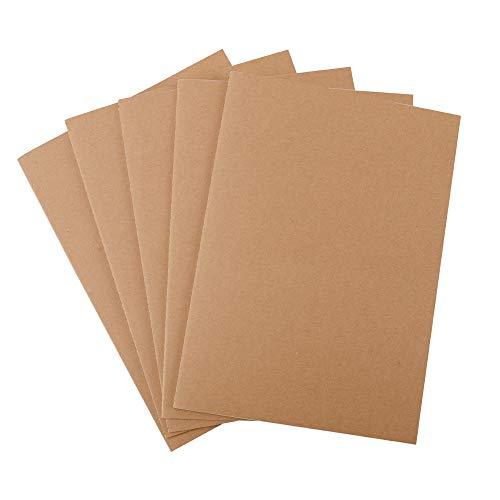 YILEEY Pack de 5 cuadernos, A4 Tapa de Kraft Blanda Punteado 60 páginas, Libretas Grapadas Cuaderno de Notas para Despacho Diario Escritura de la Escuela Chicos Chicas y Maestros