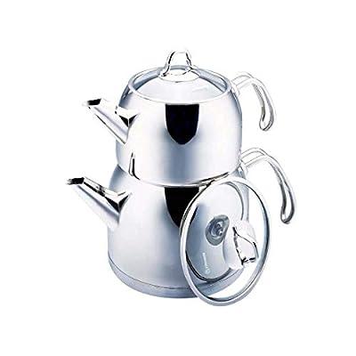 Korkmaz Provita Maxi Capsulated Turkish Tea Pot Set with Ergonomic Handle, Polish Finish - .7 & 1.5 Quart