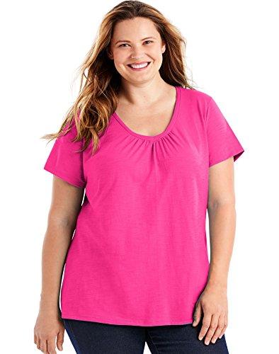 Just My Size Women's Short Sleeve Shirred V-Neck Tee, Amaranth, 4X