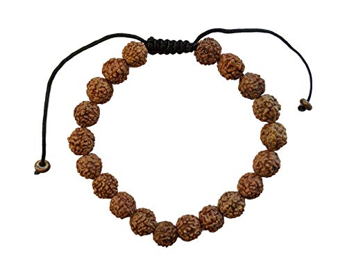 Equal Earth Rudraksha Mala 5 Mukhi Prayer Bracelet Yoga Meditation Buddhist Adjustable Size Sliding Knot