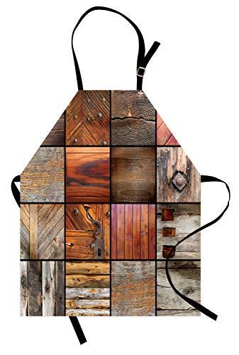 ABAKUHAUS Antiek Keukenschort, Houten Timber sleutel van de voordeur, Unisex Keukenschort met Verstelbare Nekband voor Koken en Tuinieren, Chocolade bruin