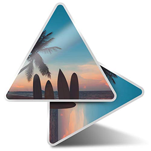 2 pegatinas triangulares de 10 cm – Sunset Surfboards Fun Calcomanías para ordenadores portátiles, tabletas, equipaje, reserva de chatarra, neveras #2478