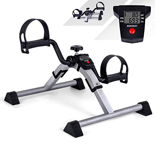 Mini Exercise Bikes Foldable Pedal Exerciser Portable Hand Arm and Leg Exerciser, LCD Screen Display, Adjustable Resistance for Home Fitness Gym Work Out, Aerobic Trainer, Rehabilitation