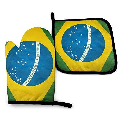 Myrdora Brasilien Flagge Küchenofen Handschuhe und Topflappen, hitzebeständige Küchenofen Handschuhe für Grill Grillen Kochen Backen Grillen