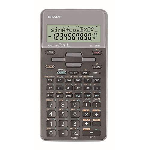 Sharp EL-531-TH-GY Wissenschaftlicher Schulrechner (D.A.L.-Eingabe, Batteriebetrieben) silber