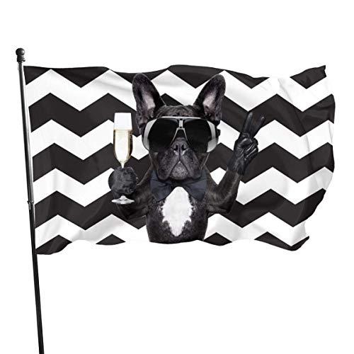 Perro Gafas Divertidas Cáliz Banderas de jardín onduladas Decoraciones de la casa para Interiores y Exteriores, Bandera de Patio Duradera (3 x 5 pies)