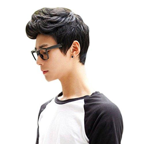 Männer Junge Perücken Volles Haar Kurz Schwarz Dunkelbraun Haar Männer Männliche Fälschungs-Haar Cosplay Perücken Faser