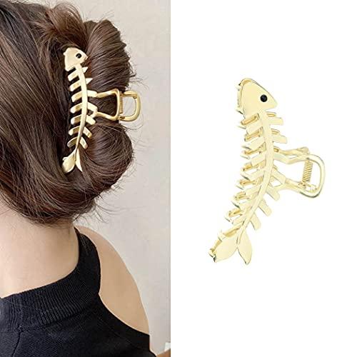 Runmi Metall-Haarkralle Fisch Haarspangen Große Haarspangen Rutschfeste Haarklammern Gold Haarschmuck für Frauen und Mädchen
