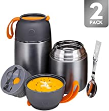Thermos Food Jar for Hot & Cold Food for Kids Adult, 24 &17 oz Set Soup Thermos Hot Food Containers for Lunch, 2 Pack Insulated Food Jar with Spoon