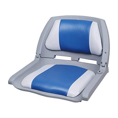 [pro.tec] Bootsstuhl/Steuerstuhl - klappbar und gepolstert [blau-weiß] Kunstleder