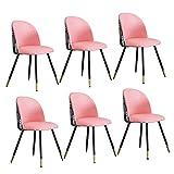N&O Esszimmerstühle Set Weicher Polstersitz Mit Metallbeinen Küchenstühle Für Wohnzimmer Empfang Büro Leder Stickerei Patchwork Stuhl (Farbe A Größe 6)