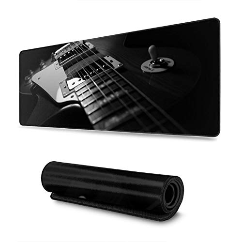 Music Paul Guitar Gaming Mouse Pad, Long Extended XL Mousepad Desk Pad, Large Non-Slip Rubber Mice Pads Stitched Edges, 31.5'' X 11.8''