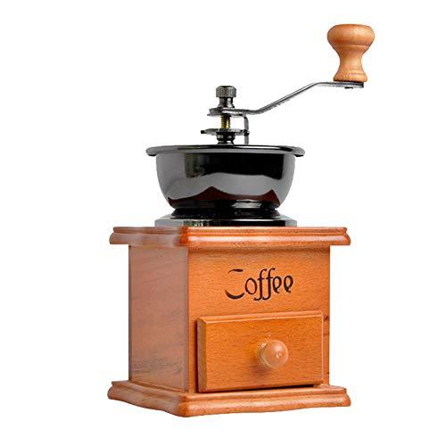 Retro Manuelle Kaffeemühle, Holz und Metall Hand Kaffeemühlen Mit Schublade Keramikmahlwerk für Kaffeebohnen Pfeffer und andere Gewürze Vintage Dekoration Kleine Kaffeemaschine