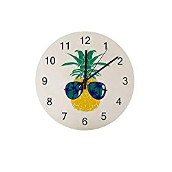ZHONGJI Wooden Wall Clock Pineapple with Glasses Round Silent Non Ticking Battery Drive Home Decor Accessories Vintage Style Office Bedroom