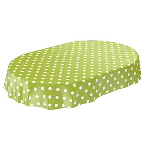 ANRO Tischdecke Wachstuch abwaschbar Wachstuchtischdecke Wachstischdecke Punkte Tupfen Grün Oval 180x140cm