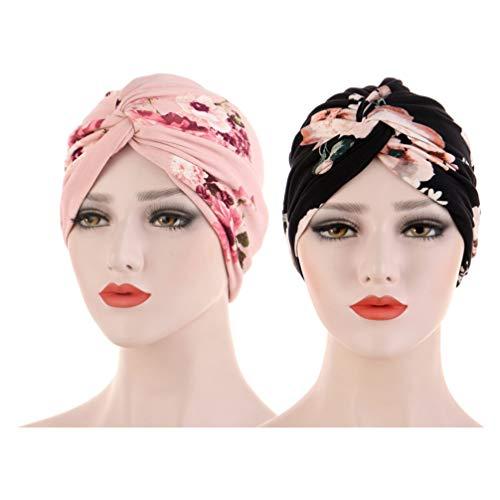 Artibetter Gorras de Turbante para Mujer Islámico Musulmán Estampado Floral Pañuelo de Poliéster para Niñas Mujeres Damas 2 Piezas