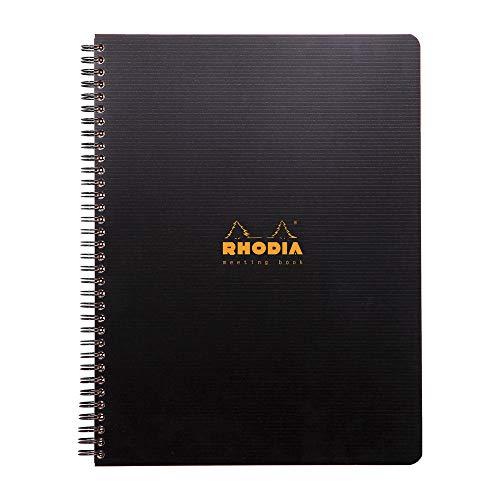 Rhodia 119940C Meetingbook Notizbuch (mit Doppelspiralbindung, 5 Register, bedruckt, liniert, repositionierbar, DIN A4, 21 x 29,7 cm, 90 g, 80 Blatt) 1 Stück schwarz
