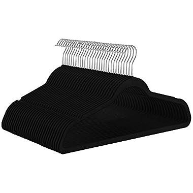 Utopia Home Premium Velvet Suit Hangers - Heavy Duty - Non Slip - Velvet Suit Hangers Black - by (50)