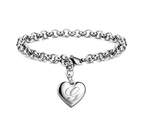 Initial Charm Bracelets Stainless Steel Heart Letters G Alphabet Bracelet for Women