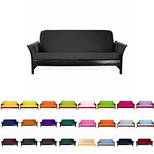 Magshion F Futon-F-Blk Colorful Cover Slipcover, Full Size, Black