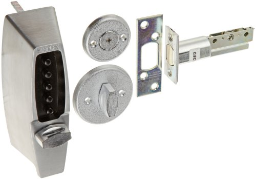 Kaba Simplex 7100 Series Metal Mechanical Pushbutton Auxiliary Lock with Thumbturn, 25mm Tubular Deadbolt, Flat Front Face Plate, 70mm Backset, Satin Chrome Finish