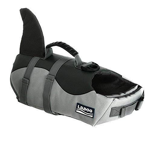 HAOCOO Dog Life Jacket Vest Saver Safety Swimsuit Preserver with Reflective Stripes/Adjustable Belt Dogs (Shark, Medium)