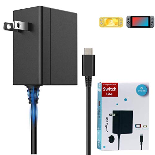 pdobq Charger for Switch, Fast Charging Power Adapter Compatible with Nintendo Switch and Switch Lite AC Adapter Charger, 15V2.6A Support TV Mode